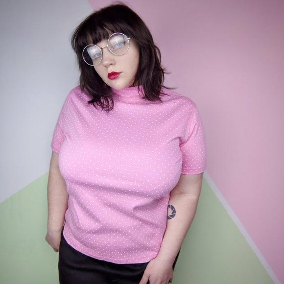 Lands' End Pink & White Polka Dot Mock Neck Top